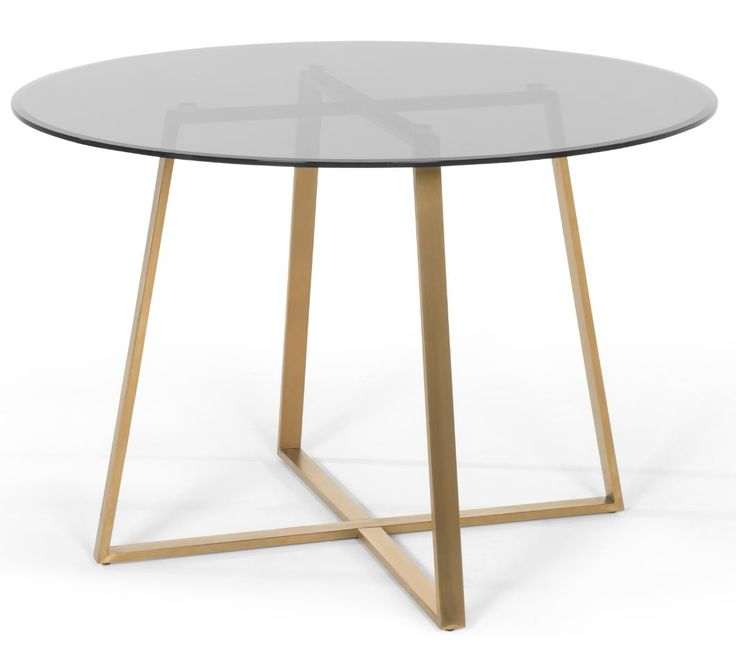 Haku Round Large Dining Table, Brass And Smoked Glass