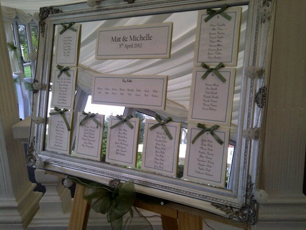 Framed mirror wedding table plan. wedding-seating-chart-ideas
