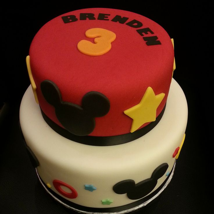 2 tier Mickey Mouse theme cake #mickeymouse #birthday
