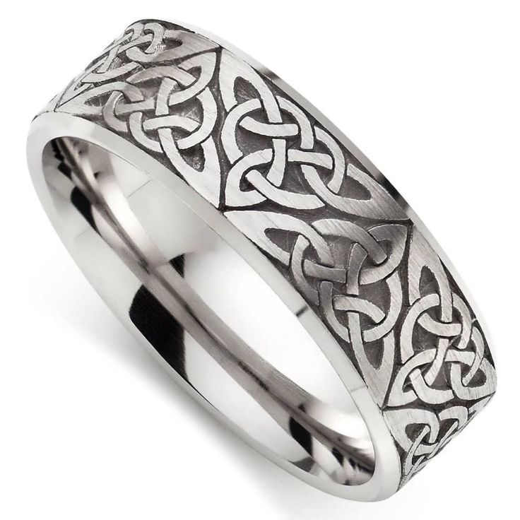 Wedding Rings, Celtic White Gold Wedding Ring 9ct White Gold Celtic Mens Wedding Ring.
