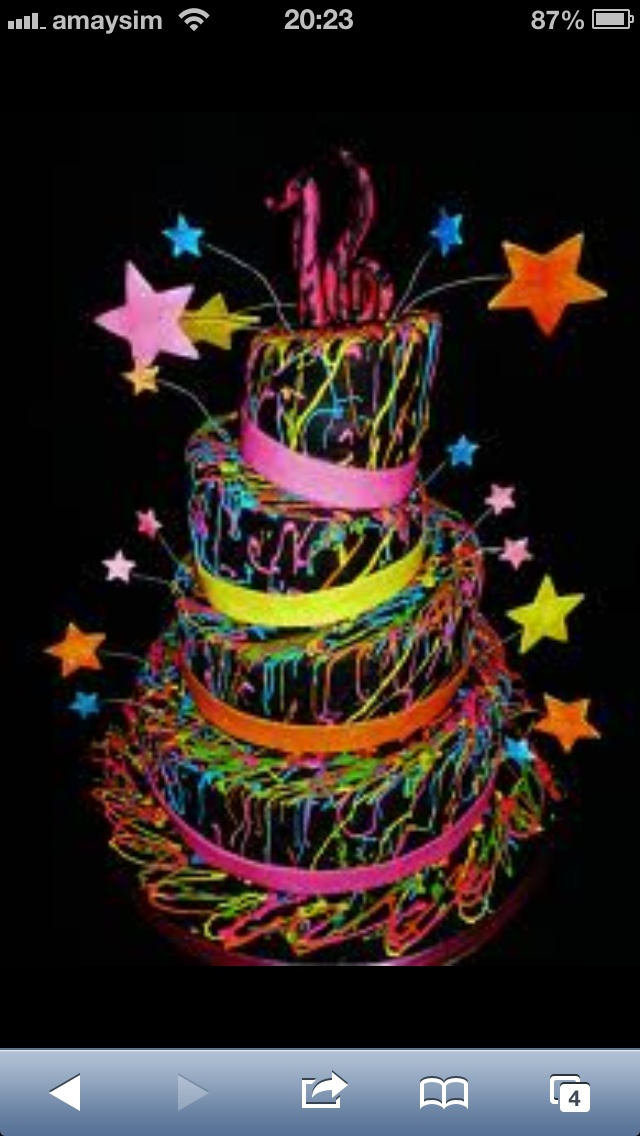 An Awesome Paint Glow In The Dark Cake Alanas Party