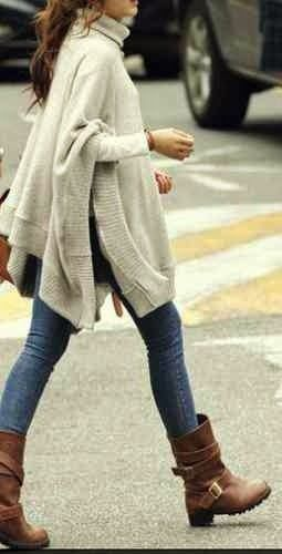 poncho, skinnies, boots #comfy