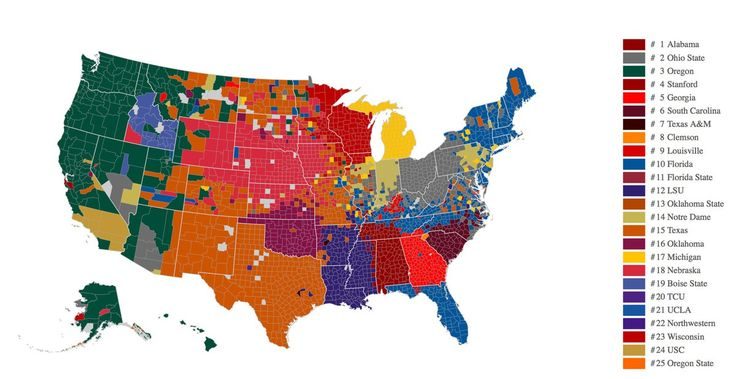 GO DUCKS!! Loving all that Green on the West Coast!  [Which of college football's top teams score the most points with sports fanatics? This data map by Facebook provides some insights.]
