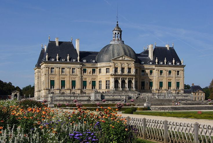 The Château de Vaux-le-Vicomte is a baroque French château located in Maincy, near Melun, 55 km southeast of Paris in the Seine-et-Marne département of France. It was built from 1658 to 1661 for Nicolas Fouquet, Marquis de Belle Île, Viscount of Melun and Vaux, the superintendent of finances of Louis XIV.  View of the garden front