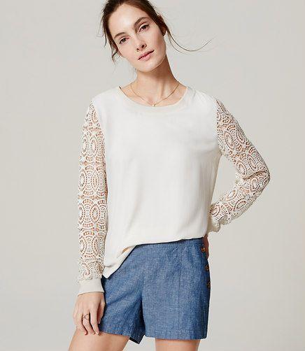Image of Circle Lace Sleeve Blouse