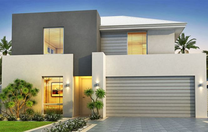Inspiring Narrow Block House Designs to Save Space Optimally : Modern Style Narrow Block House Designs Grey Exterior Color Design