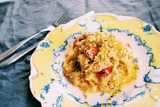 Spagettipumpa med vitlök och parmesan