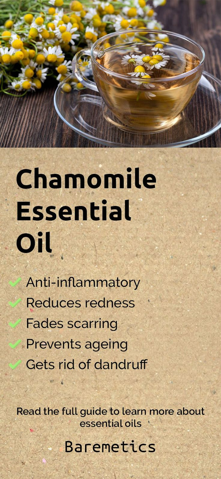 Chamomile oil helps with acne by reducing redness and inflammation, it soothes eczema, reduces scarring, calms rashes and evens out skin tone. To use this oil, dilute a few drops in jojoba oil (or any other plant oil) and apply it to wherever you like. If you want to know more about essential oils, click on the image!