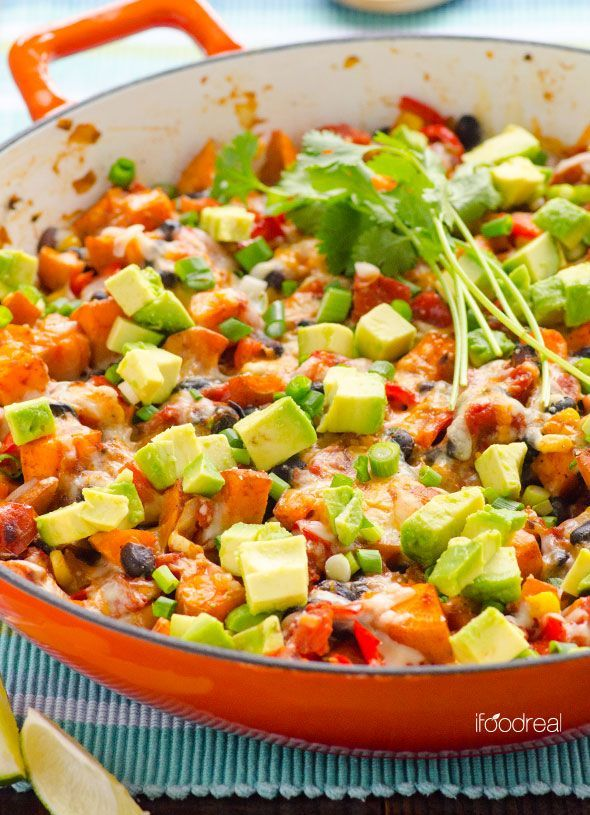 Sweet Potato Skillet Tex Mex Style is healthy and gluten free 30 minute weeknight dinner idea with avocados, beans, corn and cheese.