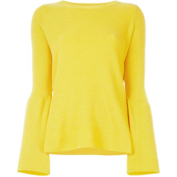Stella McCartney ribbed flared jumper (6 035 SEK) ❤ liked on Polyvore featuring tops, sweaters, blouses, yellow sweater, bell sleeve sweater, long sleeve summer tops, long sleeve jumper and bell sleeve tops