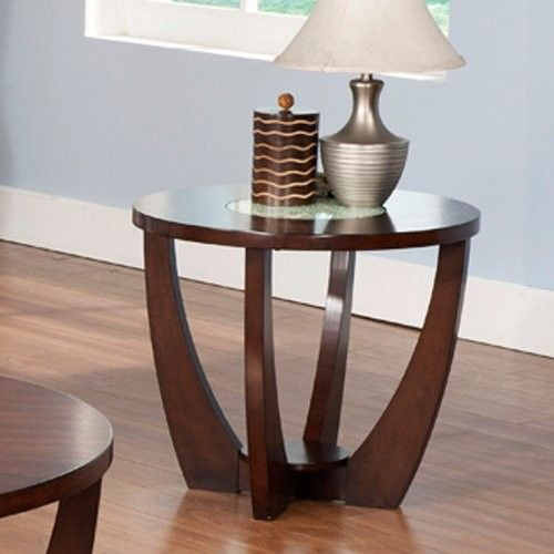 Steve Silver Rafael Round Cherry Wood And Glass End Table   Durable
