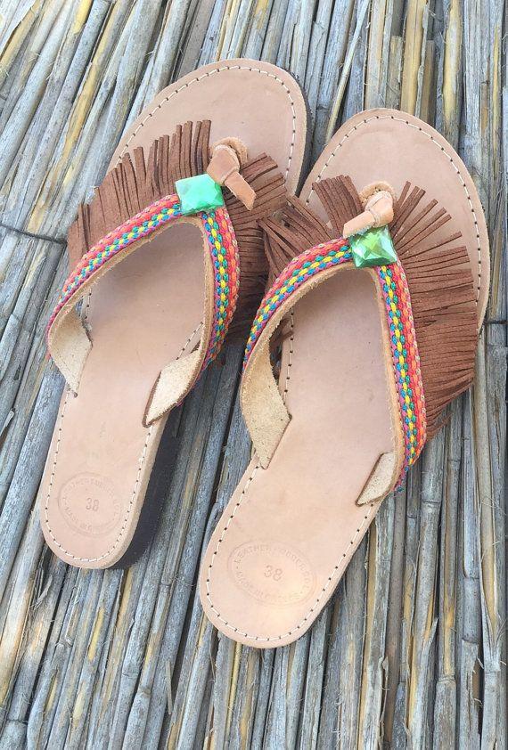 Handmade sandals made in Greece Greek fashion boho by KatiNeo