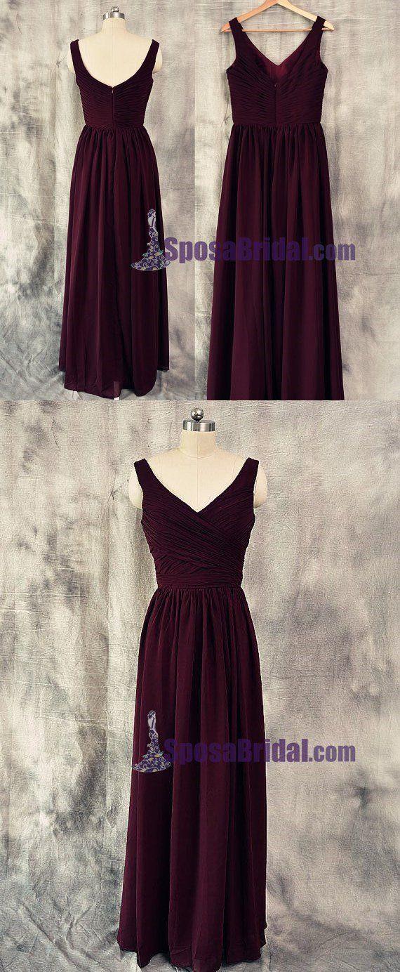 Burgund V-Ausschnitt Die beliebtesten Brautjungfernkleider. Hochzeitsgastkleid, PD0666