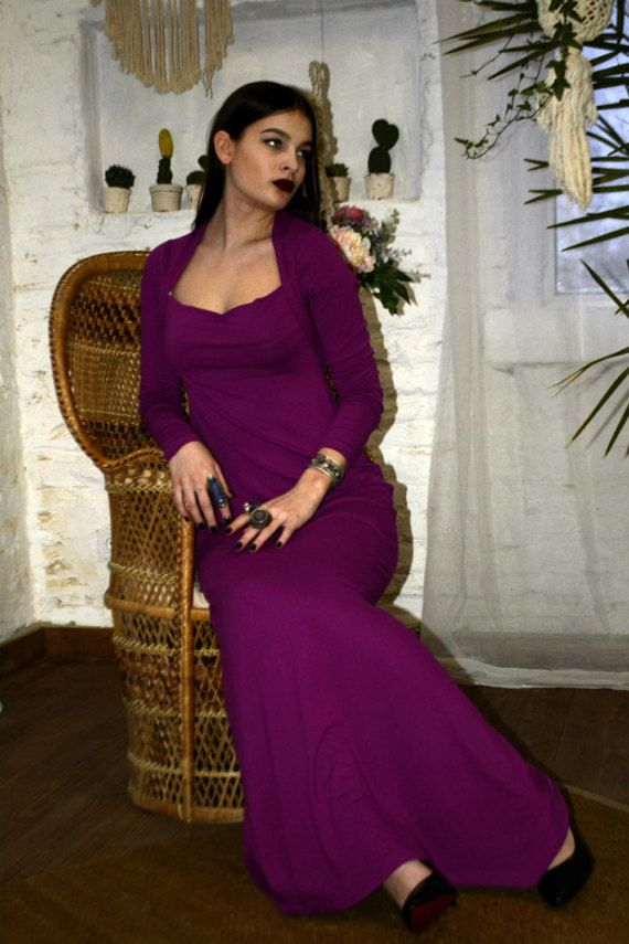 Elegant magenta color long dress with distinctive square neckline. Slim dress emphasizes your Breasts seem larger. A thin natural fabric is great to wear in spring and summer, long tight sleeves will give harmony to your image. This outfit for a luxurious Bohemian, tribal and witches image.  Fabric viscose jersey, eco-friendly, natural, perfectly stretches Available any size, length 150cm, if you need longer or shorter please contact us.