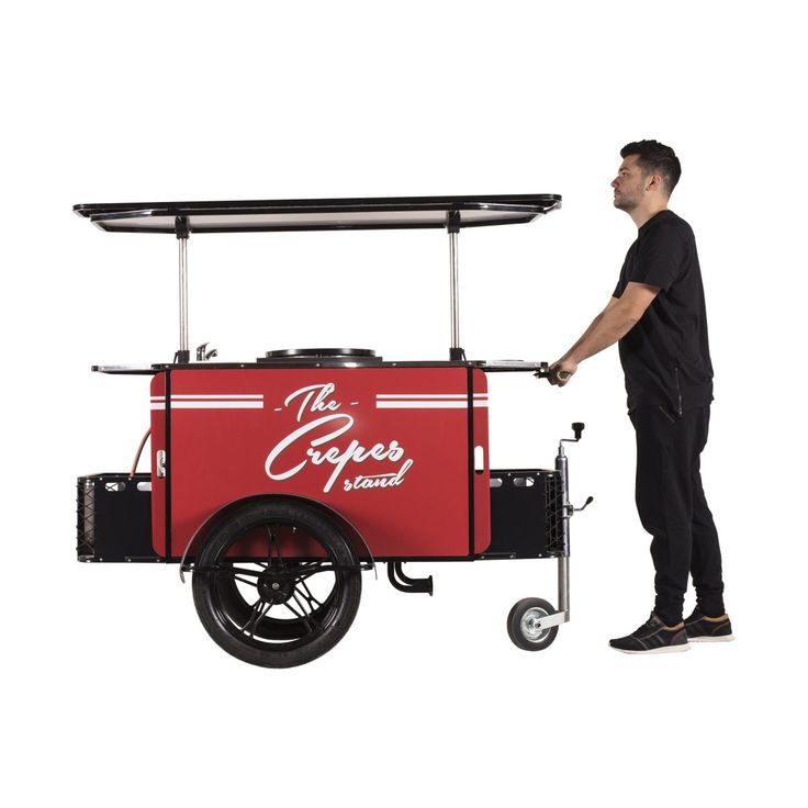 The Crepes Cart can be hauled as a push cart, too!    #CrepesCart #Crepes #VendingCart