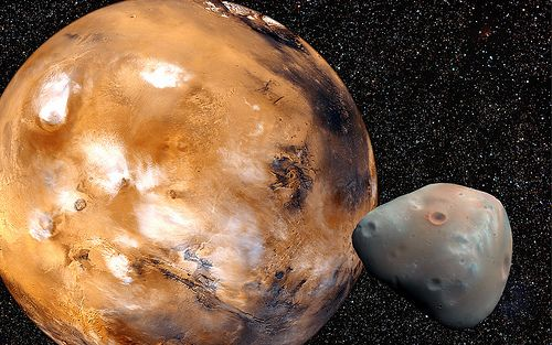 Deimos is about 7.5 miles in diameter. (Composite image inspired by NASA photos)