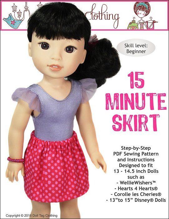 FREE pattern for WellieWishers to sew a easy skirt! By Doll Tag Clothing.