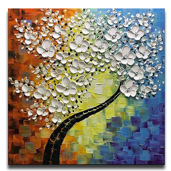 Asdam Art Square Tree 3d Paintings Hand Painted Framed Oil Painting On Canvas Modern Home De Flower Painting Canvas 3d Painting On Canvas Horizontal Wall Art