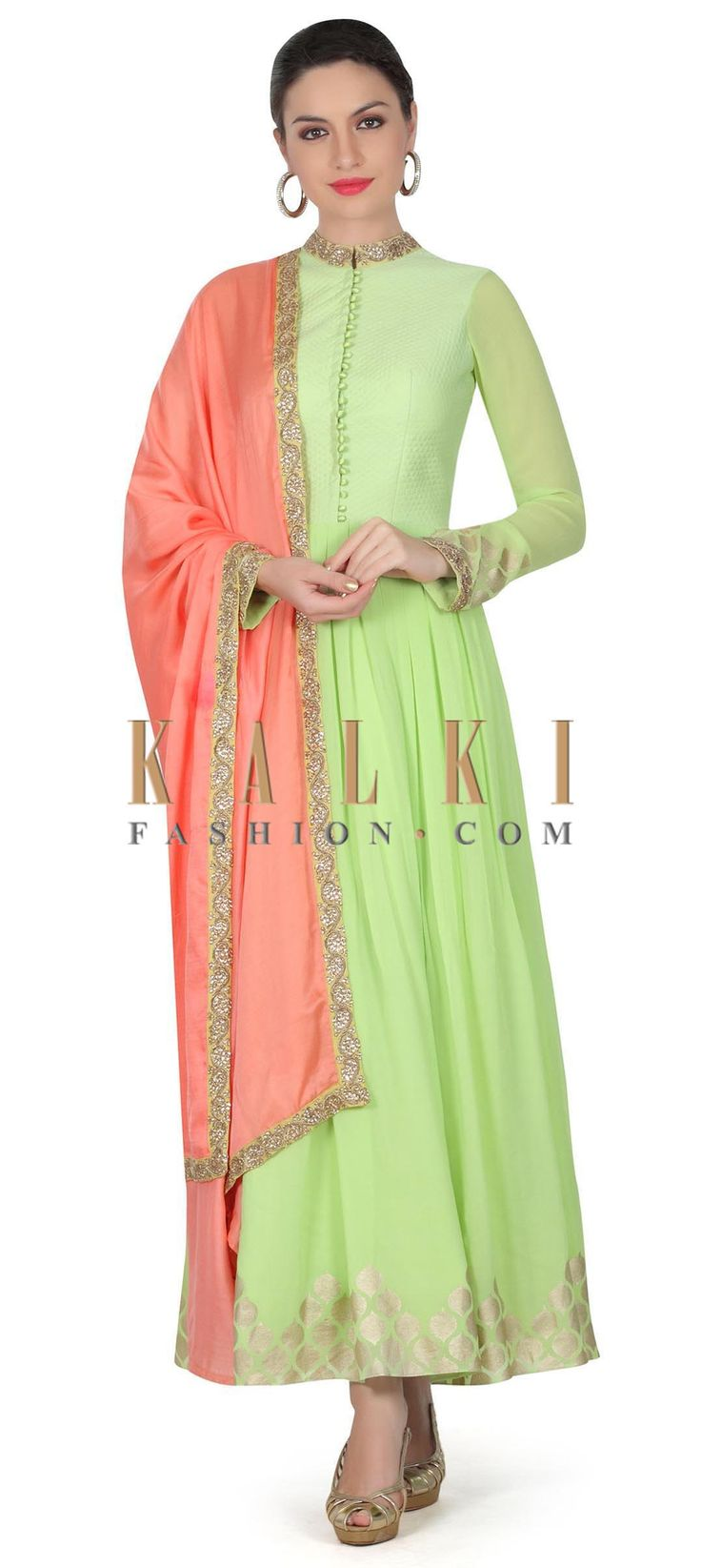 Buy this Green anarkali suit with contrast pink dupatta only on Kalki