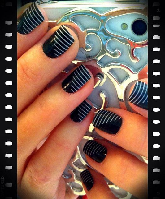 Nail art ~ Love the stripes  and plain black great mix and match