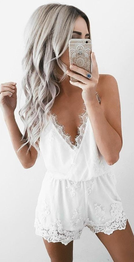 #summer #prefall #outfits | White Lace Playsuit