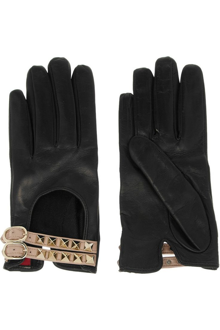 Tiger leather driving gloves - Valentino Rockstud Leather Gloves For Fall 2013
