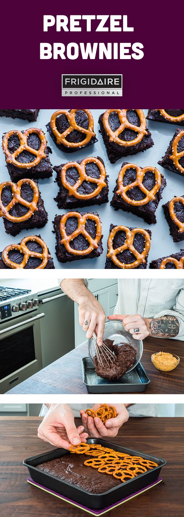 Here's a trick for a Halloween treat! Add crispy pretzels to chocolate peanut butter brownies for a sweet & salty snack. Click for full recipe from @dennisprescott.