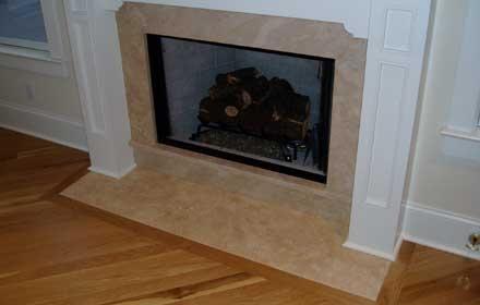 Travertine Surround Simple Mantel Fireplace Ideas
