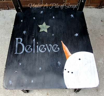 Under A Pile of Scrap!: It's Beginning to Look A Lot Like....MY version of the snowman chair - I did it! #diy #snowman #snowmen