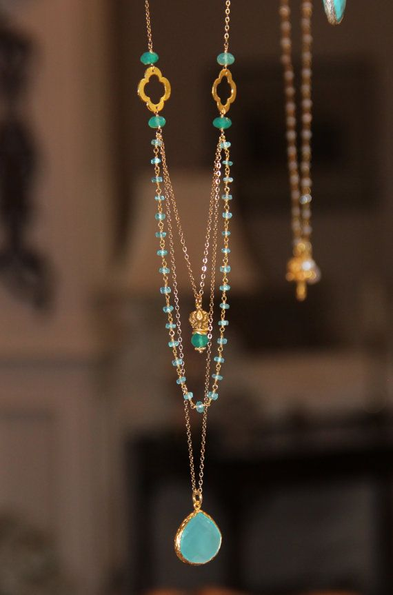 Long Multi Layer Necklace, Wire Wrapped Apatite w Pantone Emerald Green Onyx, Yoga Lotus Flower, Quatrefoils, Aqua Emerald Delicate Layering