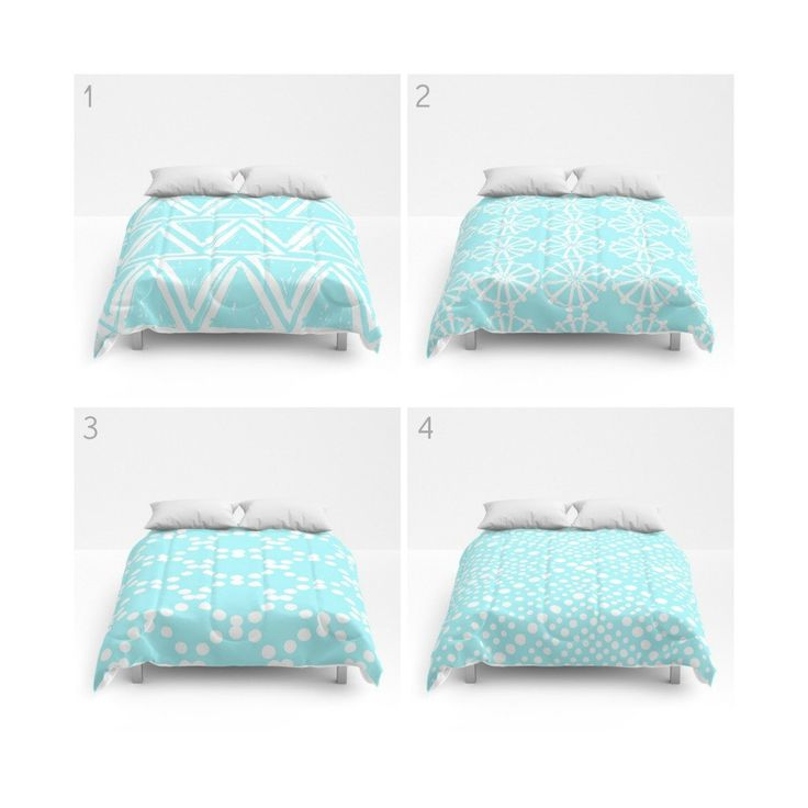Bahama Blue White Comforter - Queen Comforter - King Comforter - Full Comforter - Geometric Triangle Circle Dot  Bedding Bedspread Bed cover by ButtercupForrest on Etsy