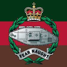 The Regimental Colours are Brown, Red and Green. When it was first formed, the Tank Corps had no distinctive colours. Nothing was done about it until just before the Battle of Cambrai in 1917, The colours typified the struggle of the Corps - 'From mud, through blood to the green fields beyond'. This most apt interpretation of the colours was suggested by Colonel Fuller. The flag is flown with the green uppermost.