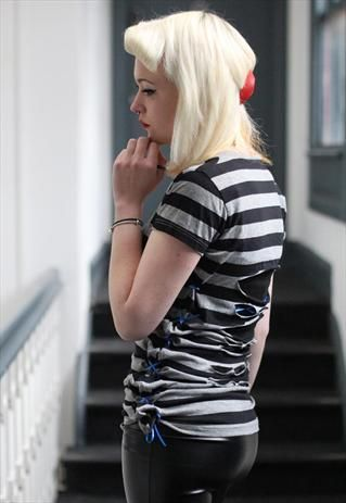 Pretty disturbia black grey stripe punk cut out grunge top