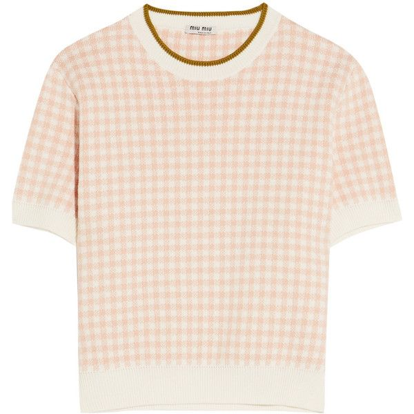 Miu MiuIntarsia Cotton Sweater ($515) ❤ liked on Polyvore featuring tops, sweaters, blush, short sleeve tops, miu miu, pink top, intarsia sweaters and short sleeve cotton tops