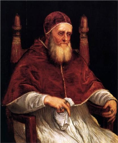 Portrait of Pope Julius II - Titian.  1545-46.  Oil on wood.  99 x 82 cm.  Galleria Palatina, Palazzo Pitti, Florence, Italy.
