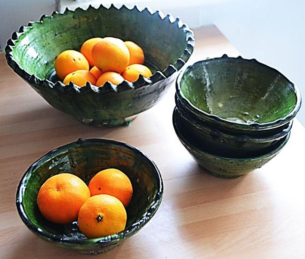 Image of Green Sahara Pottery Soup Bowls