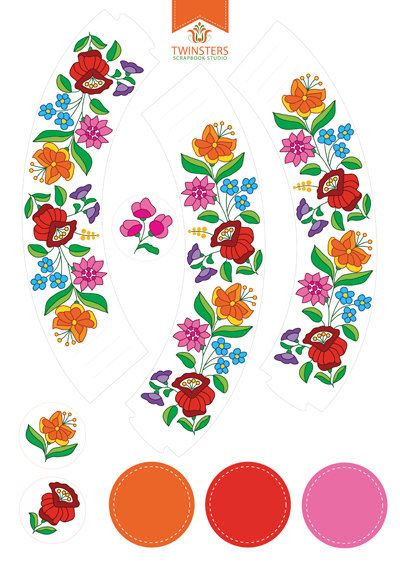Printable cupcake wrappers and toppers with hungarian folk motif by Twinsters, nyomtatható cupcake tartó, magyar népi motivum