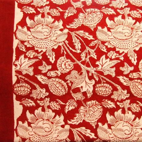 Deep Red Floral Tablecloth