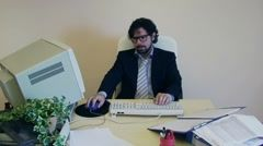 Office Work Annoyed Depressed Employee Gets Caught Stock Footage Clip