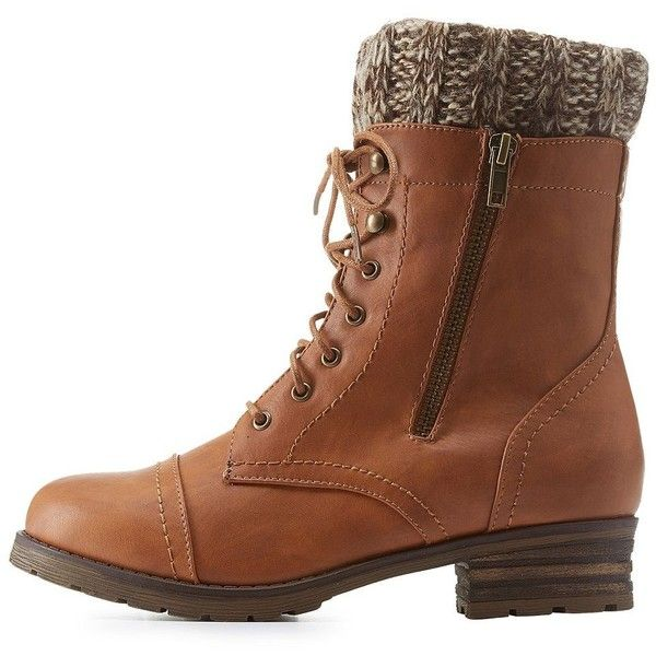 Charlotte Russe Brown Sweater-Cuffed Lace-Up Combat Booties by... ($43) ❤ liked on Polyvore featuring shoes, boots, ankle booties, brown, army boots, brown lace up booties, brown lace-up boots, lace up ankle booties and chunky boots