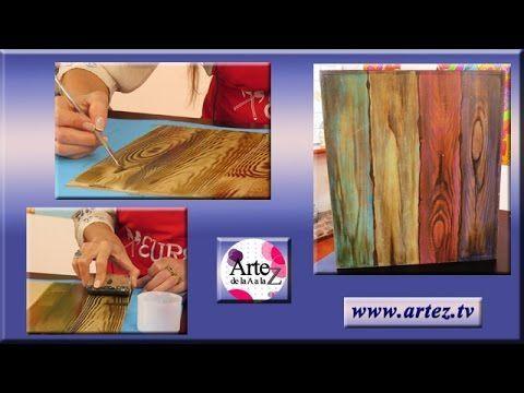 Decora una caja imitando vetas de madera - YouTube