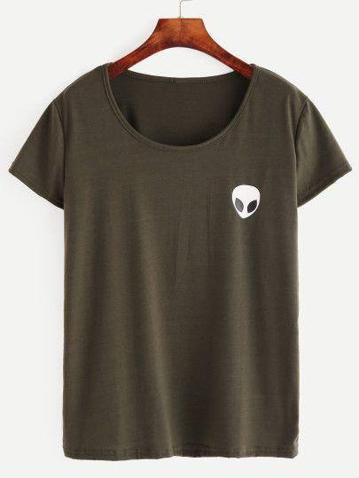 T-Shirt mit Alien Druck - olivgrün