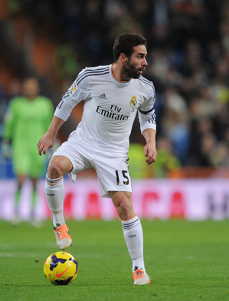 Daniel Carvajal in action during the La Liga match between Real Madrid CF and RC Celta de Vigo at Estadio Santiago Bernabéu on January 6, 2014 in Madrid, Spain.