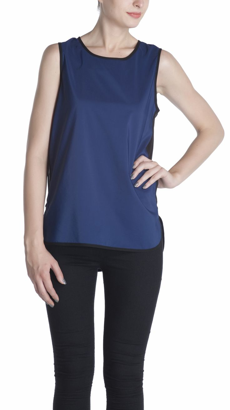 Blue rayon tank top with high low hem , and sheer side panel in black Georgette