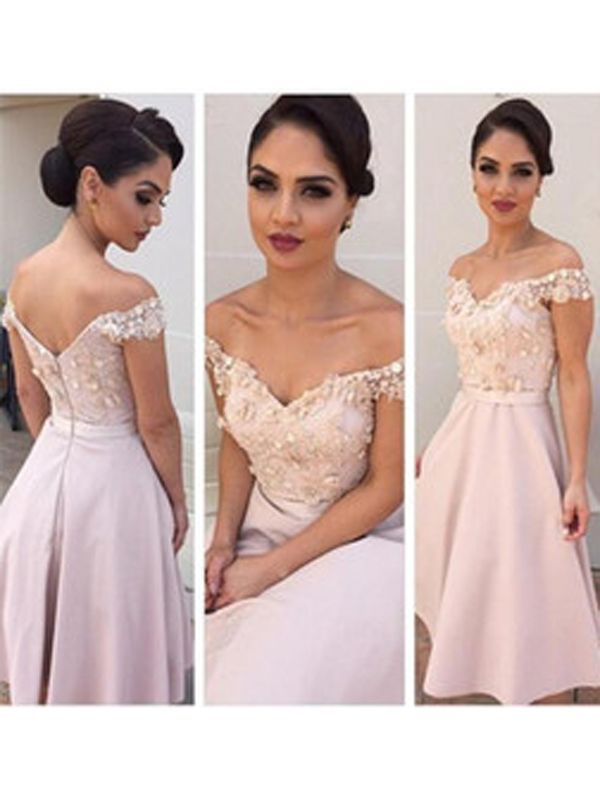 A-line+Off-the-shoulder+Tea-length+Satin+Cocktail+Dresses/Short+Prom+Dress#+ZP231