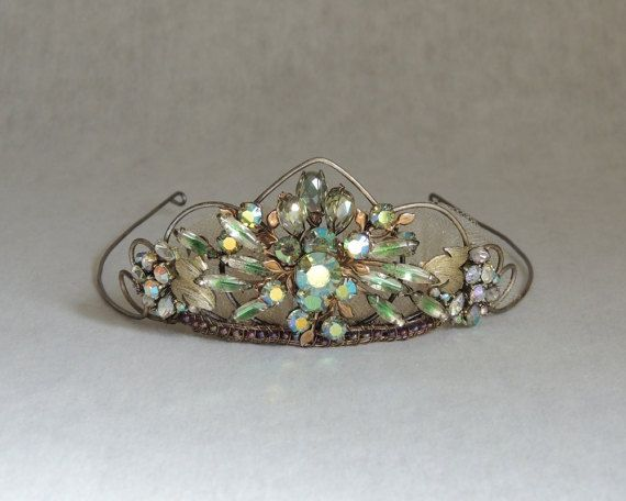 Celestial Wedding Tiara Crown, Green Wedding Hair Accessories, Vintage Crown Tiara, Rustic Boho Wedding Wreath Crown.  This Bridal Crown features a starry constellation of *vintage* aurora green marquise rhinestones. Rustic yet refined, its a hand-shaped & age-toned wire-frame Tiara. Its accented with wire-wrapped iridescent beads, then finished with a light gold tulle ruffle, and hand braided metallic trim.  One of a kind, this Crown can be worn with or without a veil. If needed, the wir...