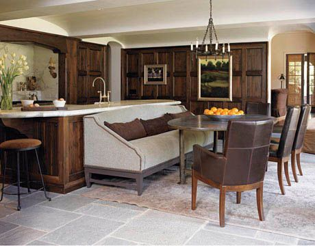 I like how they put a sofa there...: Dining Rooms, Dining Area, Banquette, Idea, Kitchens Colors, Kitchens Tables, Kitchens Islands, Families Rooms Design, House