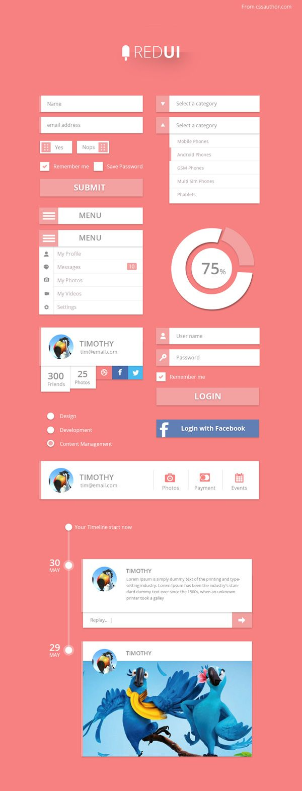 New free website graphics: RED UI – User Interface Design Kit PSD