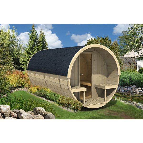 Bring luxury and serenity to your back yard with this Allwood Nordic Spruce 8-person barrel sauna. The barrel-shaped sauna features a sectioned design, large enough to comfortably seat eight adults. T