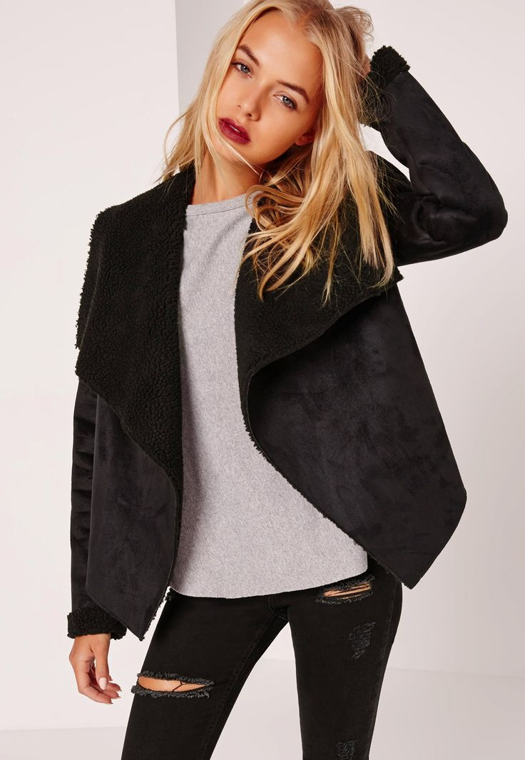 Missguided - Faux Shearling Waterfall Jacket Black